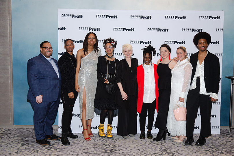 he Black Alumni of Pratt student escorts David Judkins, Javan Spruill, Christian King, Calyn Pickens-Rich, Lisa Johnson, Maria Useche, Charlene Charriez, and Alexander Mejia (L-R) with Pratt President Frances Bronet (fifth from right)