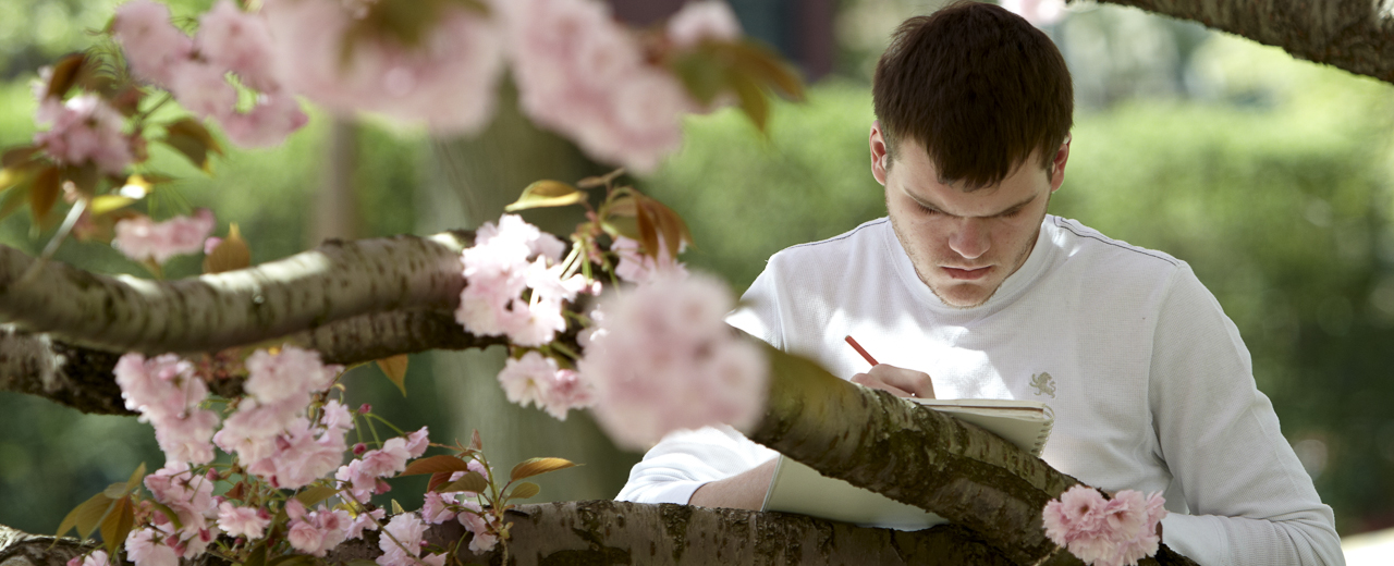 Pratt Institute student working next to a tree in the spring