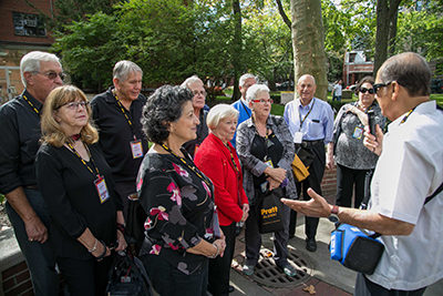 Alumni on a guided tour of the Brooklyn Campus