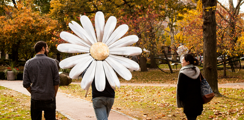 Students on Pratt Institute Campus in the Fall. The middle student is holding a giant daisy.
