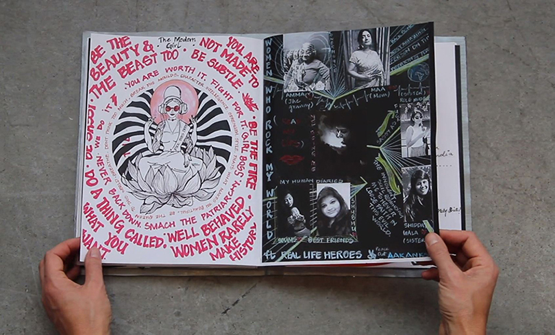 video still featuring spread of students' collaborative zine