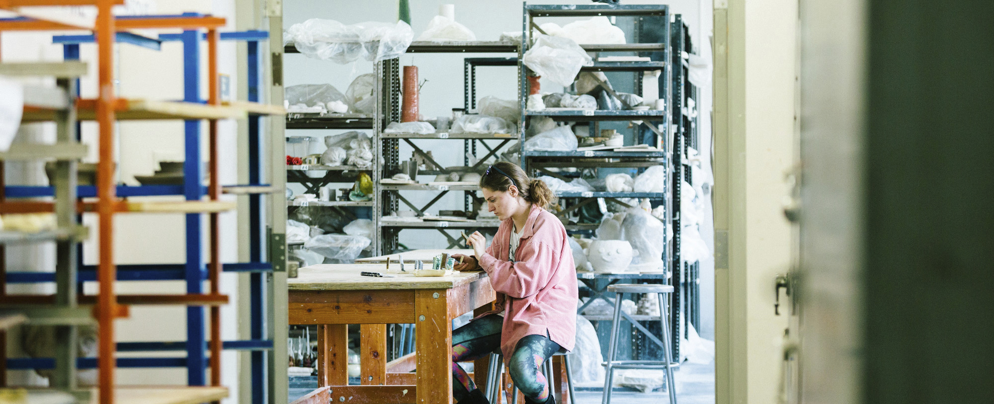 Student working in the studio