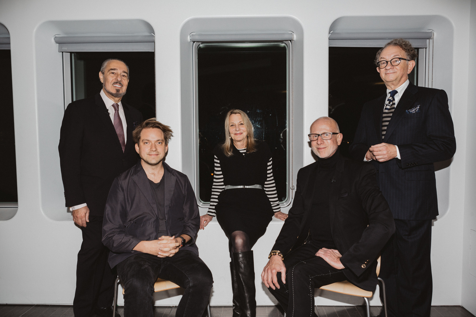 (L-R) Marc Rosen, Daniel Sundlin, Paula Scher, Jamie Drake, William Ivey Long