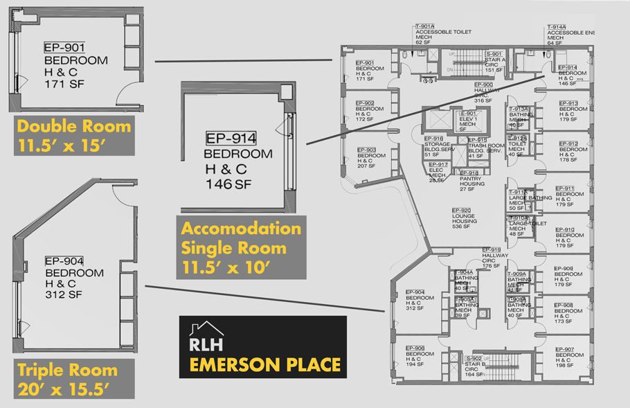 A floorpan of the 9th floor of Emerson Place.