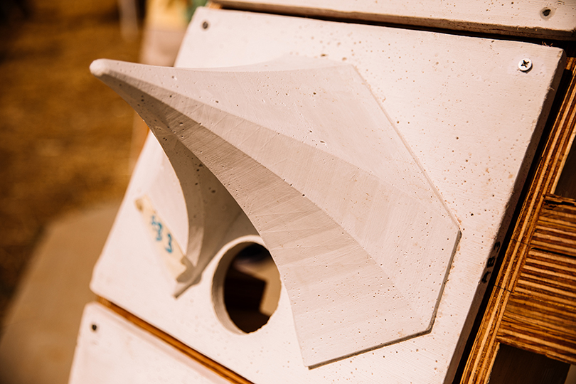 The protrusion of an exterior panel will provide protection for nesting tubes as well as image-capturing technology. Photo by Lily Landes.