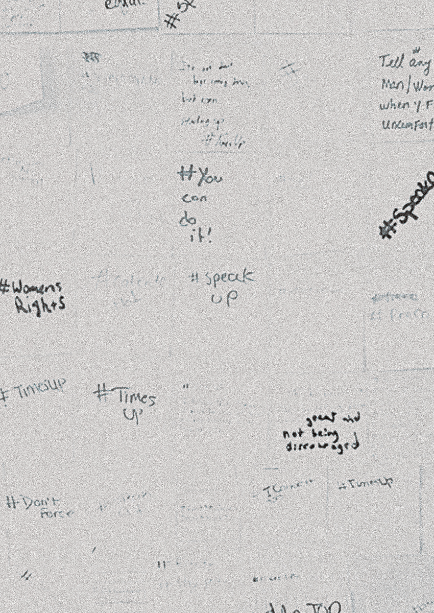 "detail of young women's responses to Natalie Riquelmy's workshop exercise ""What is your #?"""