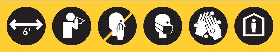 Icons depicting 6 feet separation, someone sneezing into a tissue, someone not touching their face, someone wearing a facemask, washing hands, and quarantining.