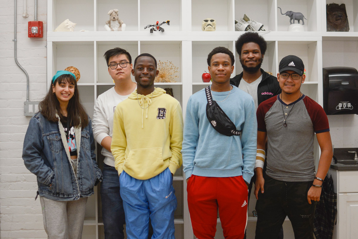 Center K-12 Alumni attending Pratt Institute, from left to right: Alyssa Contreras (BFA 2D Animation '21), Jiale Chen (BFA 2D Animation '23), Leo Lopez (BFA Graphic Design '23), Ajani Stewart (BFA Drawing '23), Troy Sylvester Viechweg (BFA 3D Animation '20), and Xavier Baez (BArch '23).