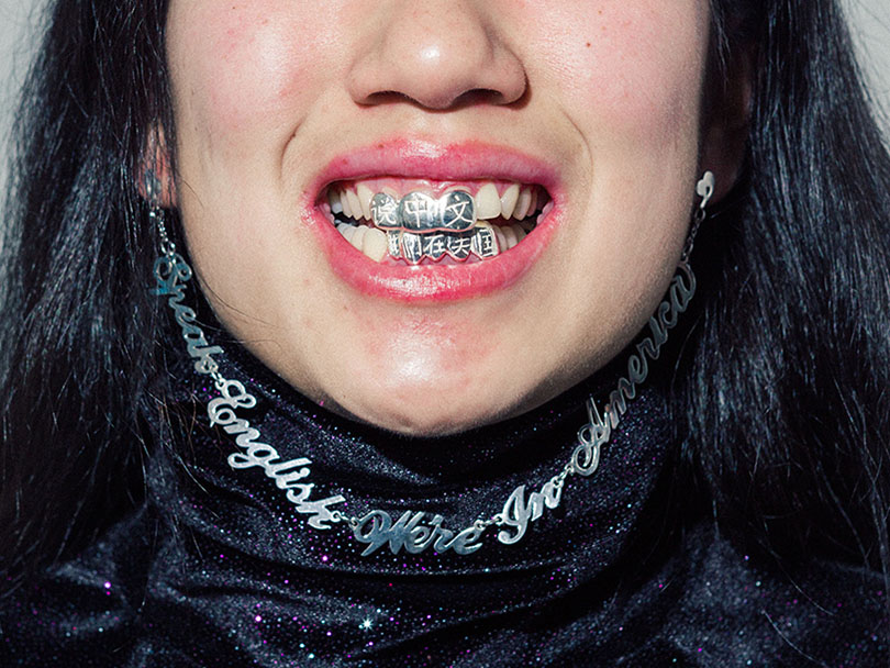 Ada Chen, Speak English, We're in America Grillz and earring-necklace, 2017