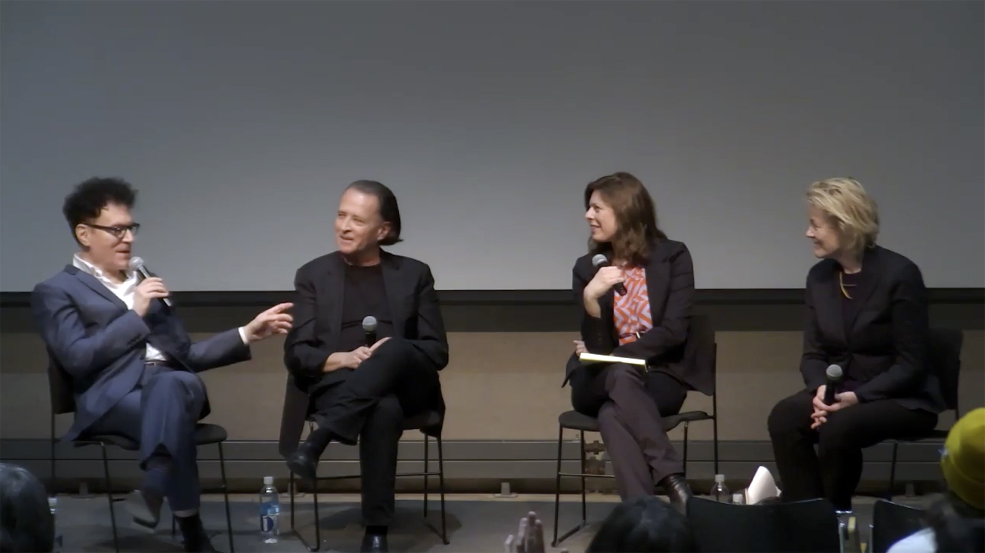 "Sanford Kwinter, Manuel DeLanda, Meredith TenHoor, and Catherine Ingraham at the ""What Does (Can) Theory Do"" GAUD symposium on April 4, 2019"