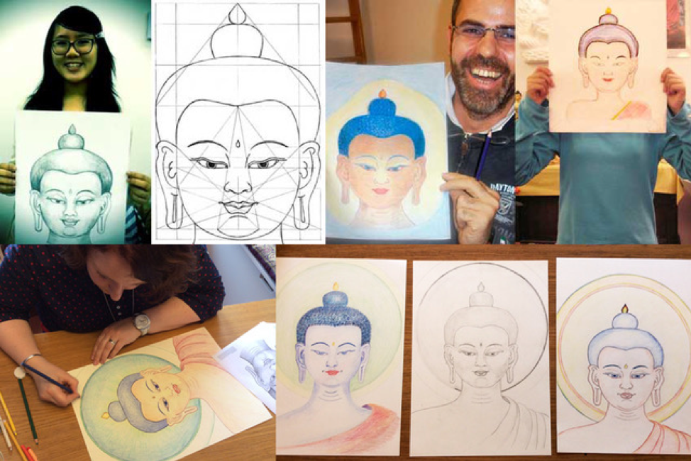 Images from Drawing the Face of the Buddha class