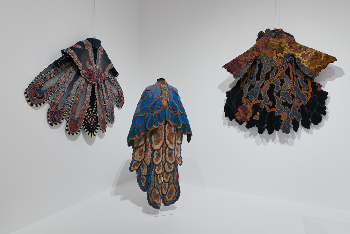 Installation view of Off the Wall: American Art to Wear at the Philadelphia Museum of Art, with work by Sharron Hedges (courtesy Philadelphia Museum of Art)