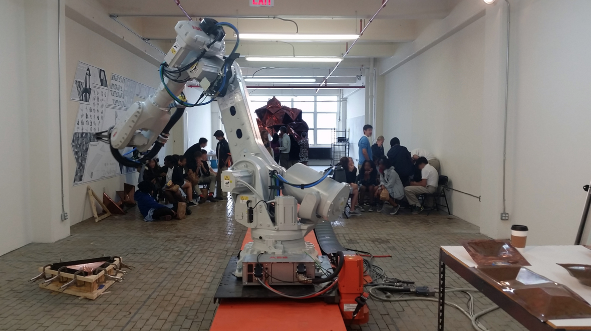 A giant robot in the classroom