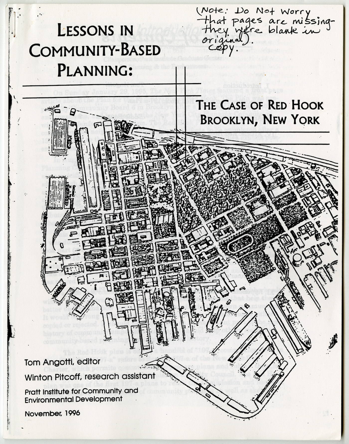 Lessons in Community-based Planning: the case of Red Hook, Brooklyn, NY (1996) (Ronald Shiffman collection on the Pratt Center for Community Development, 2013.023, Box 59, Folder 4; Brooklyn Historical Society)