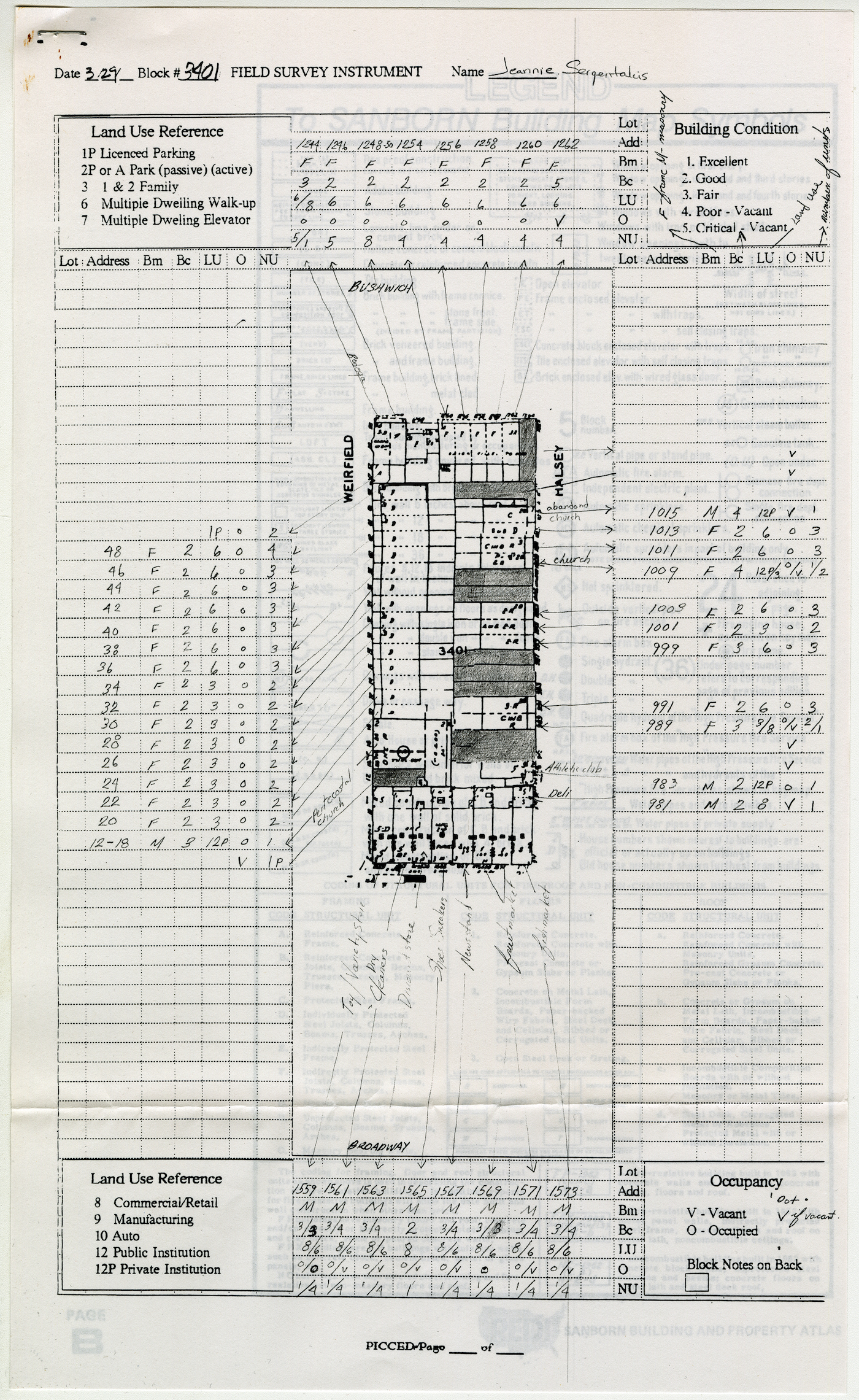 Land Use and Building Condition Surveys (1989) (Ronald Shiffman collection on the Pratt Center for Community Development, 2013.023, Box 59, Folder 3; Brooklyn Historical Society)