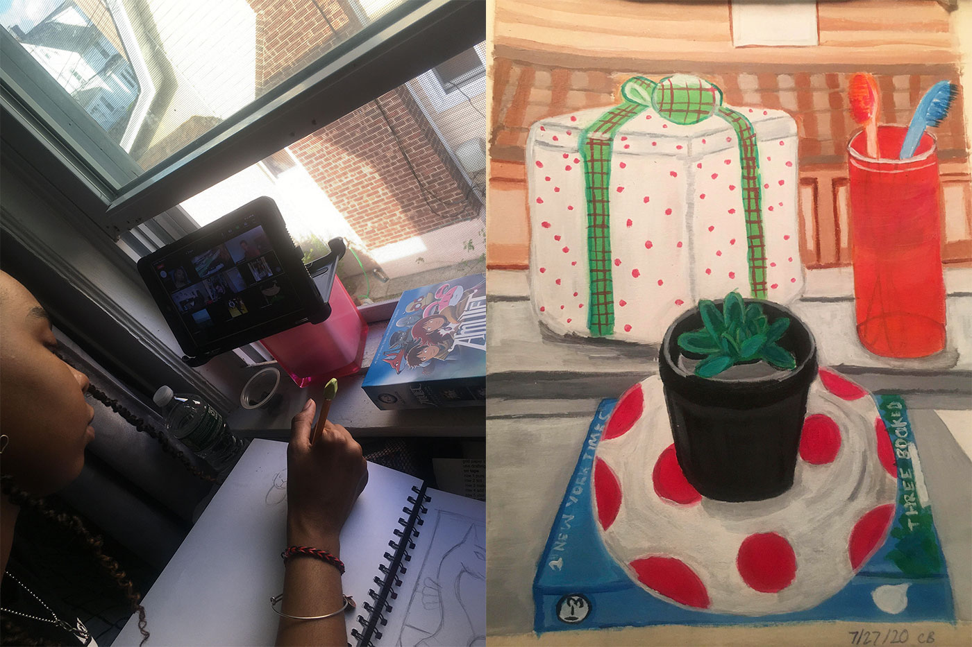 Carissa Blackwell on a virtual PreCollege tour; a still life by Blackwell