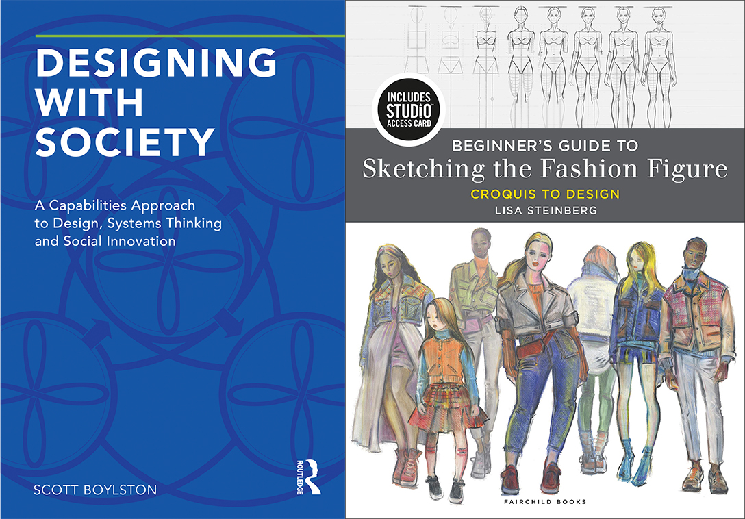 Book covers for Designing with Society and Beginners Guide to Sketching the Fashion Figure