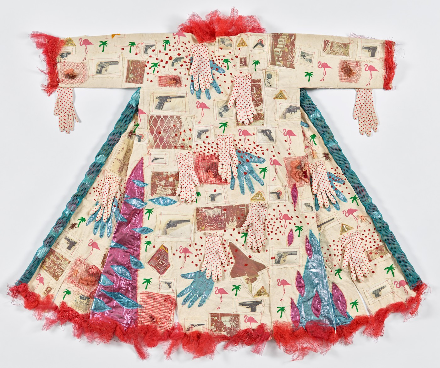 "Dina Knapp, ""See It Like a Native: History Kimono #1"" (1982), painted, appliquéd, and Xerox-transferred cotton, polyester, plastic, and paper (courtesy Philadelphia Museum of Art, promised gift of Julie Schafler Dale Collection)"