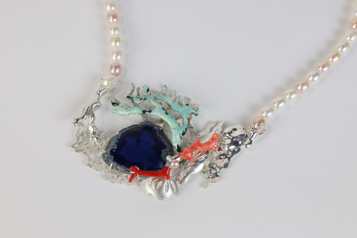 "Jung Ki Min's ""Blue Hole"" necklace (2019), photo by Jung Ki Min and Hao Chen"