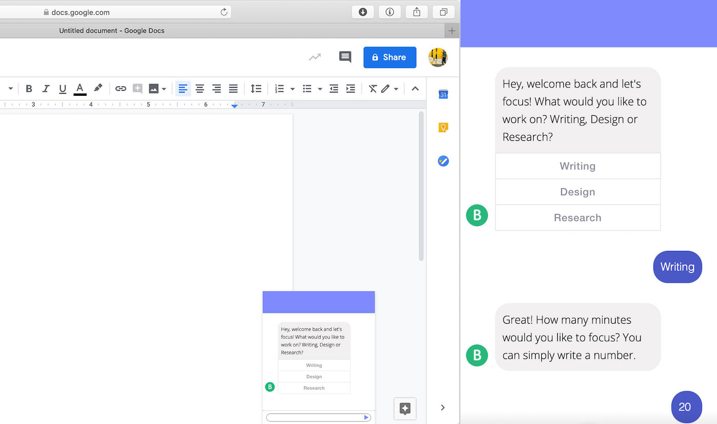 Designing a chatbot to help get past procrastination (courtesy Veronika Kostova, MSIXD '20)