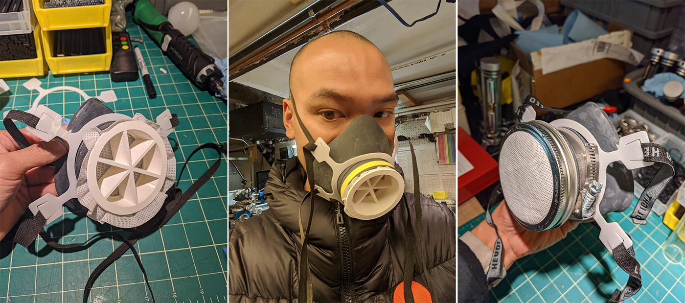 Che-Wei Wang, BArch '03 and Adjunct Assistant Professor of Undergraduate Architecture, designing and prototyping a respirator mask (courtesy Che-Wei Wang)