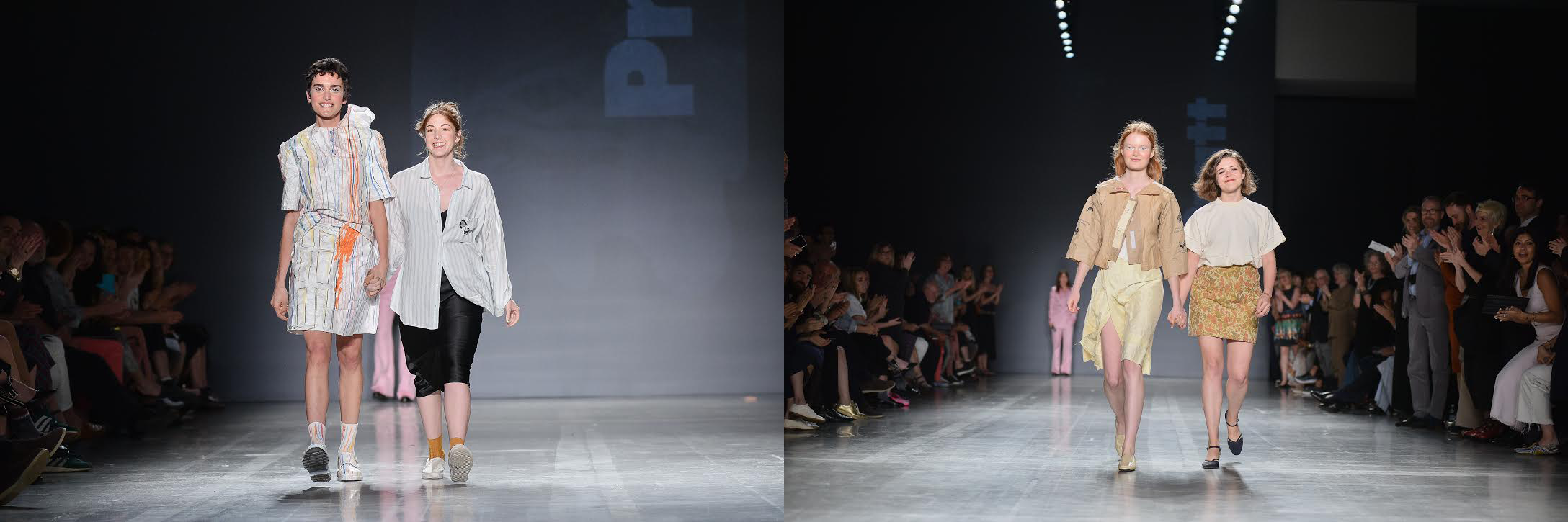 Graduating seniors Rachel Lee (left) and Emily Ridings (right) each walk the runway with a model wearing one of their looks at Pratt Shows: Fashion | Diversiform (photo: Fernando Colon)