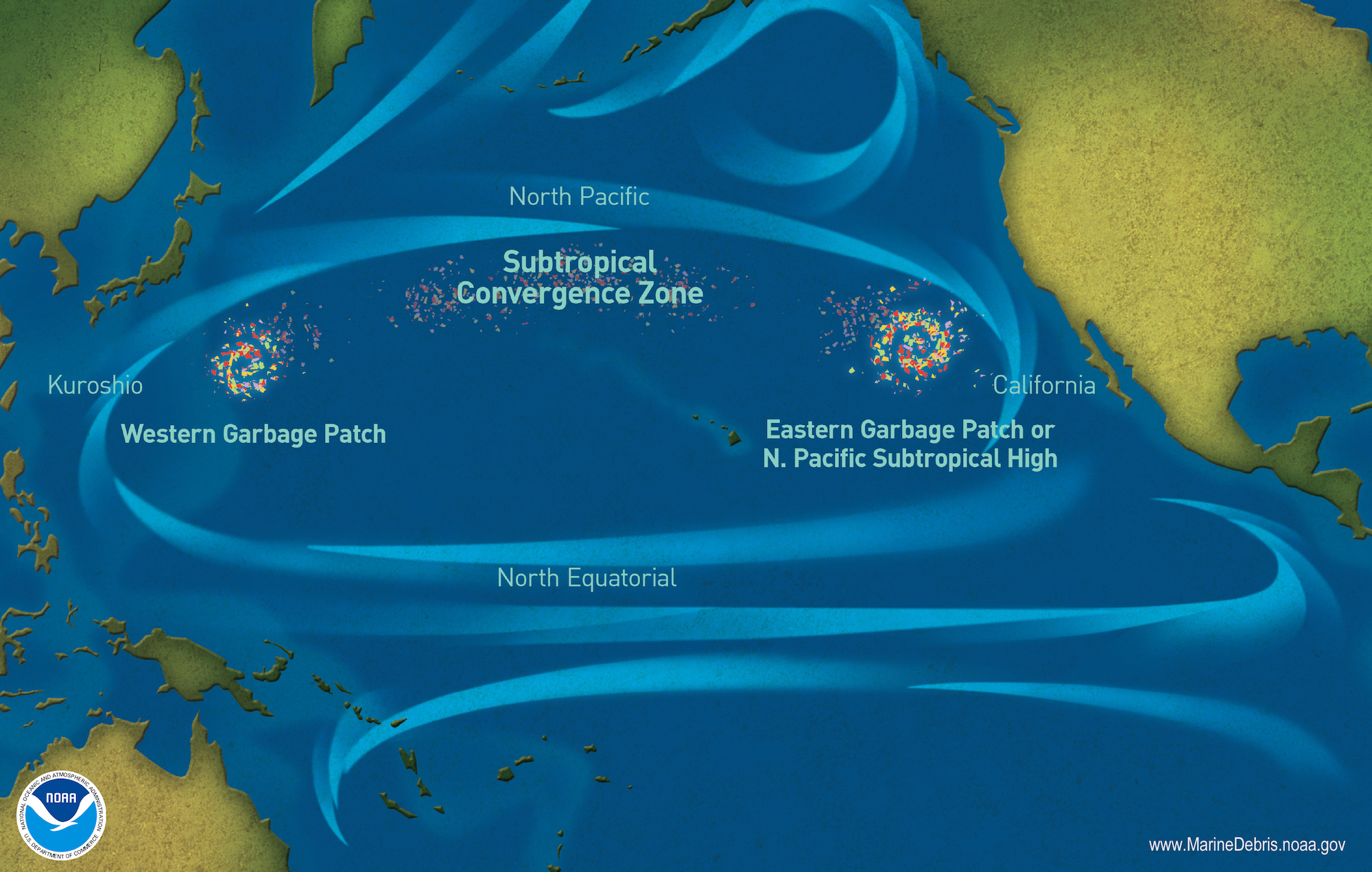 Map of marine debris accumulation locations in the North Pacific Ocean