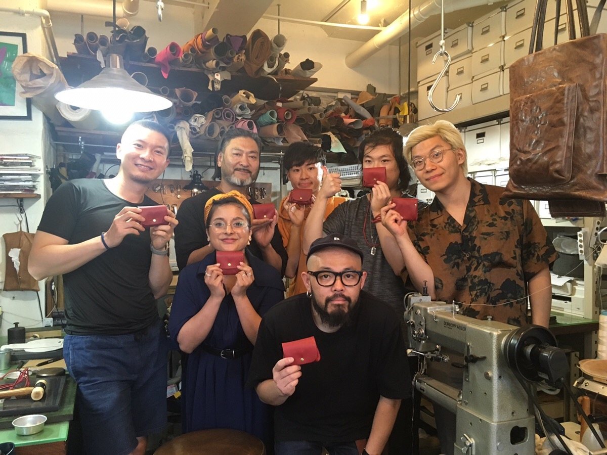 Students with the wallets they created at NOLA Torigoe in Tokyo