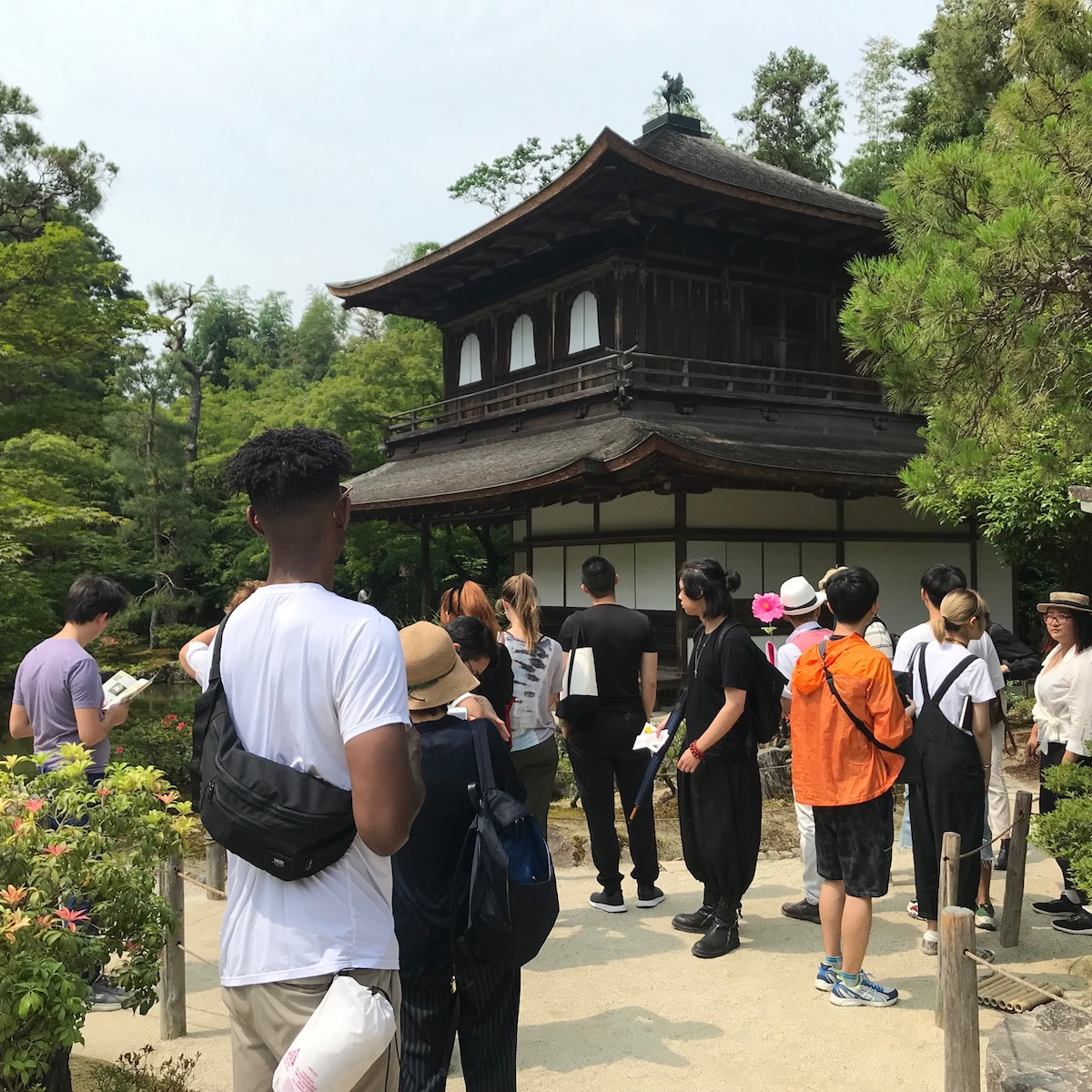 Students at Ginkaku-ji temple in Kyoto