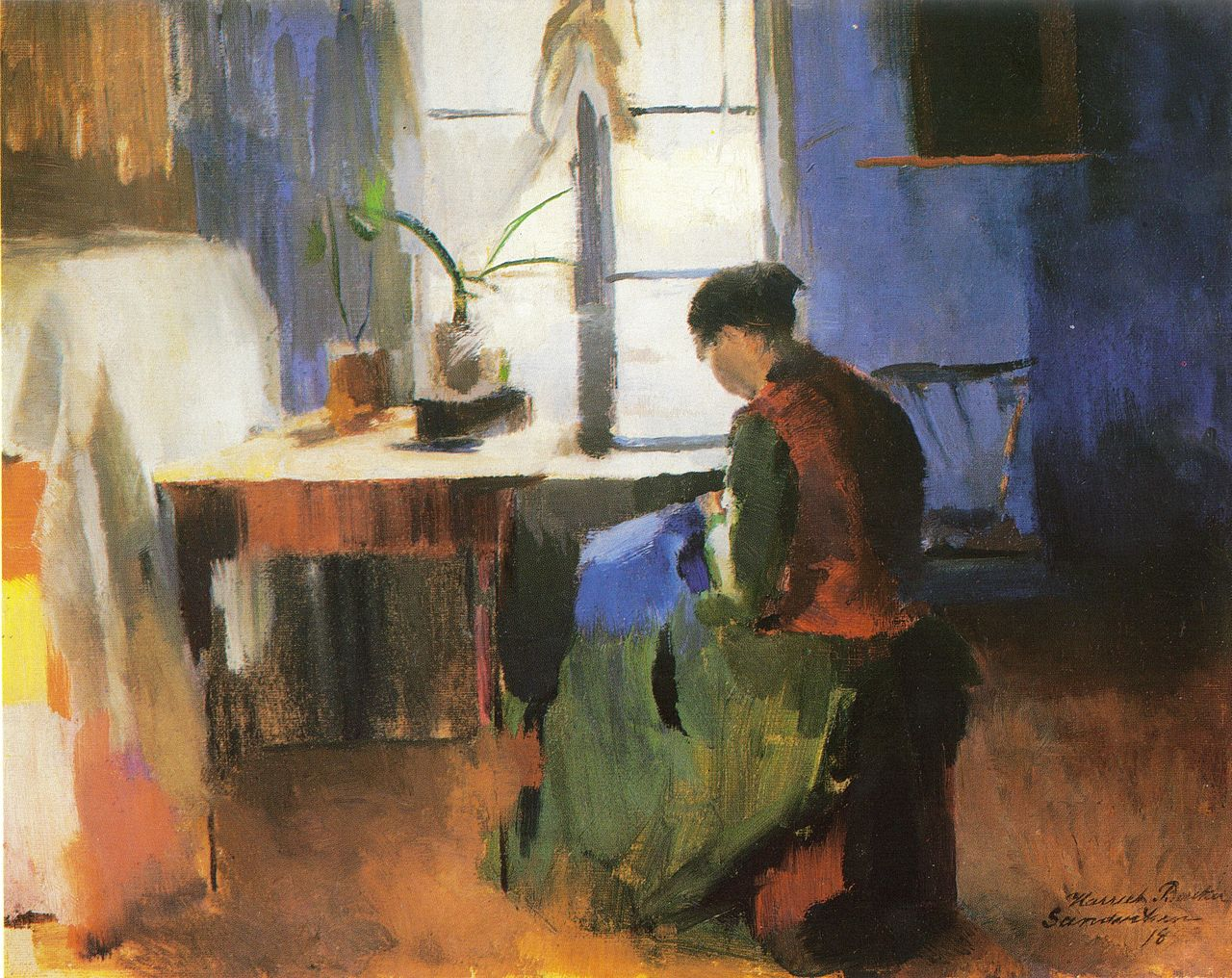 Harriet Backer, Sewing Woman (1890), oil on canvas (via Wikimedia)