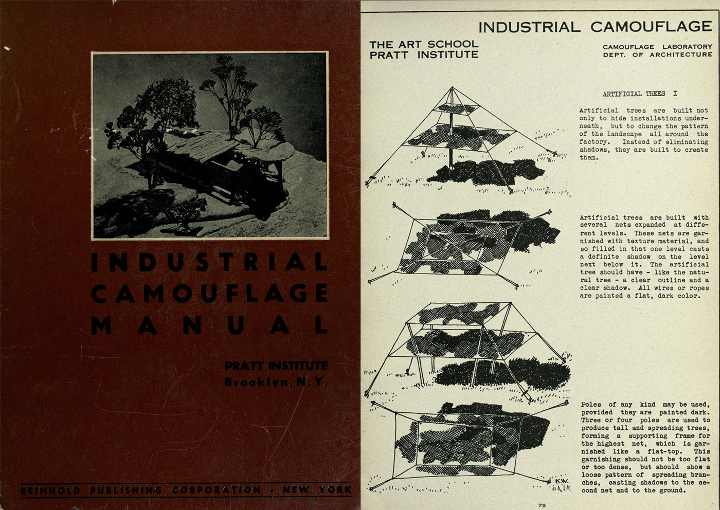 Cover of the Industrial Camouflage Manual published by Pratt Institute in 1942; Research on making fake trees from nets (via Internet Archive)