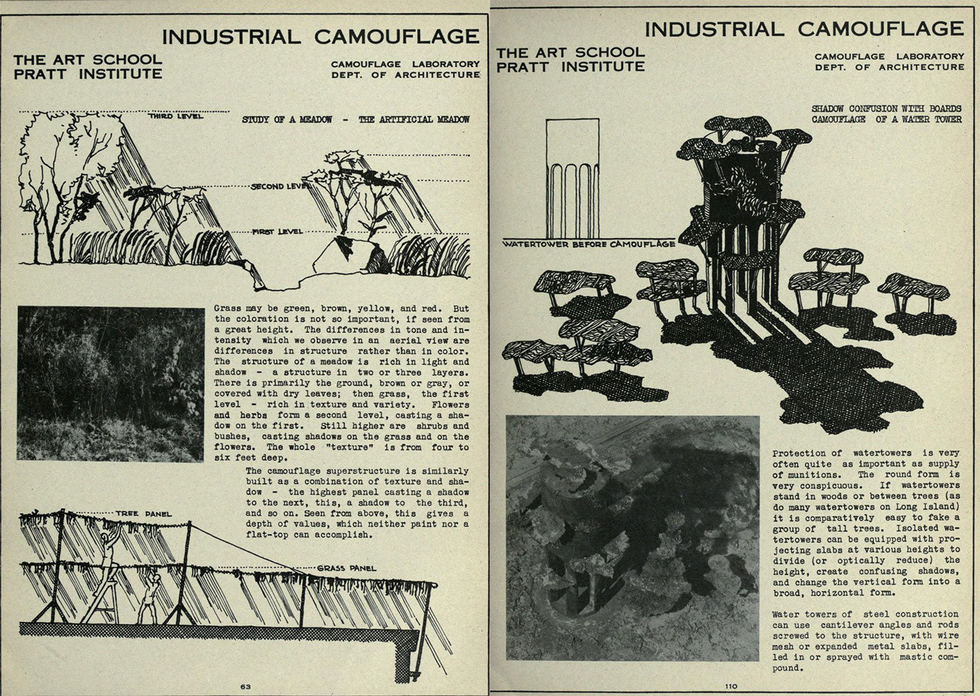 Creating an artificial meadow for camouflage; Hiding a water tower with fake trees, from the Industrial Camouflage Manual published in 1942 by Pratt Institute (via Internet Archive)