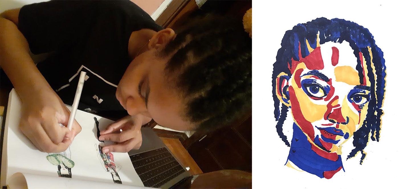 Jordan Anderson working on a PreCollege assignment; a finished drawing by Anderson