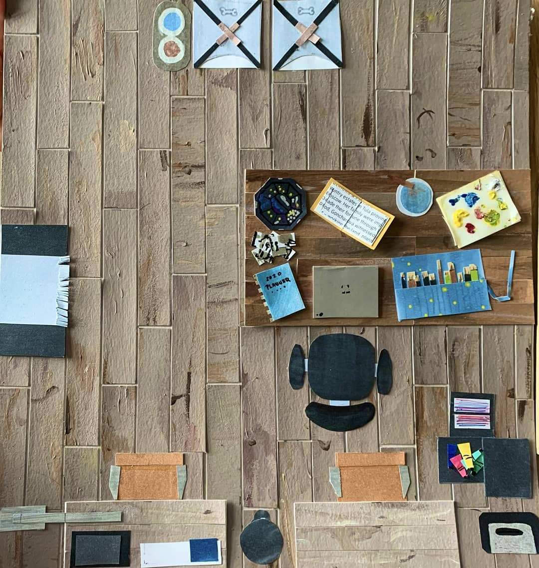 Foundation student Gabby de Castro-Olano's overhead view of her workroom created for the Light, Color, and Design Lab (via @PrattFoundation/Instagram)