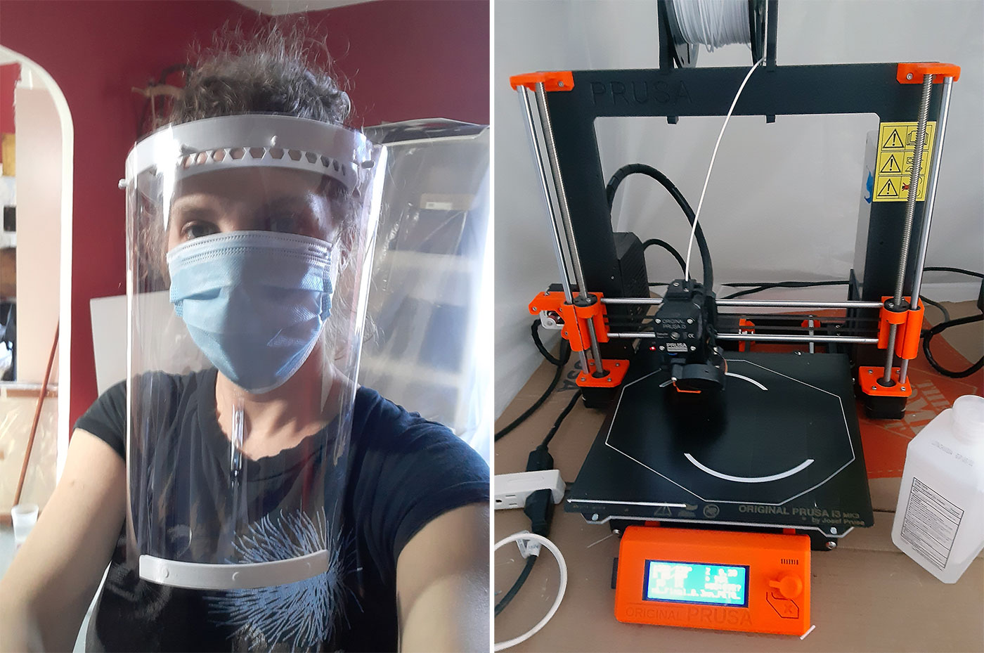 Luba Drozd, BFA Computer Graphics '06, making face shields with the 3D printer in her apartment (courtesy Luba Drozd)