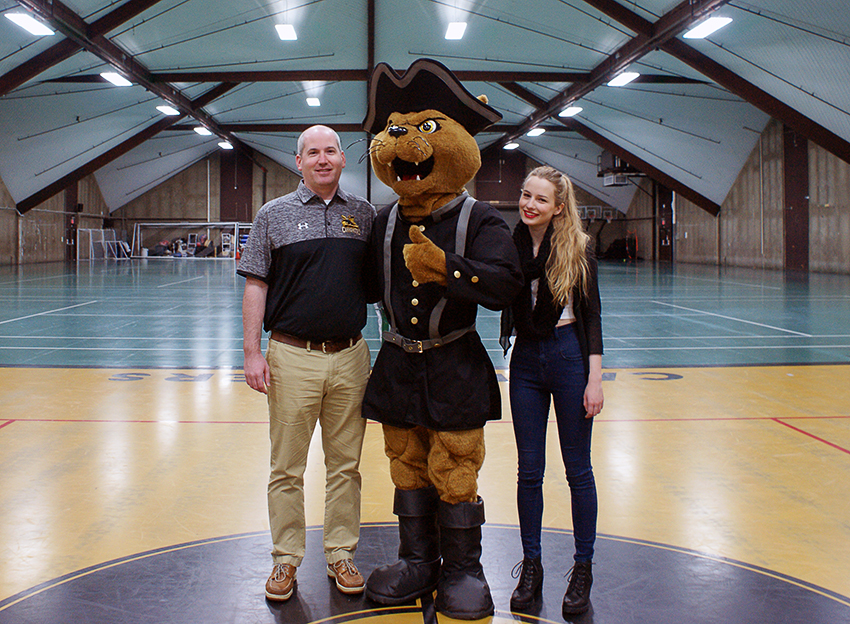 Walter Rickard, Director of Athletics; Charlie, the Cannoneers mascot; Helena Duncan (B.F.A. Writing '17)