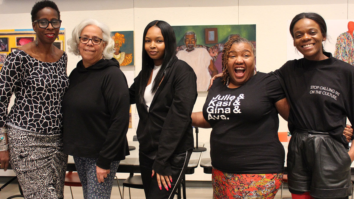 "The ""Amplifying the Black Experience: In/Visibility in NYC's Fashion Industry"" panelists: Adrienne Jones, Janet Rodriguez, Aliyah Jacobs, Sue Rock, and Ibada Wadud (courtesy Made in NYC)"