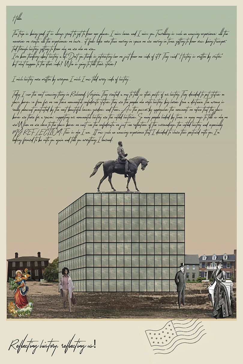 Taylor Kabeary, Eduardo Duarte Ruas, and Patrick Waldo's poster for the Monument Avenue: General Devotion/General Demotion competition (courtesy the students)
