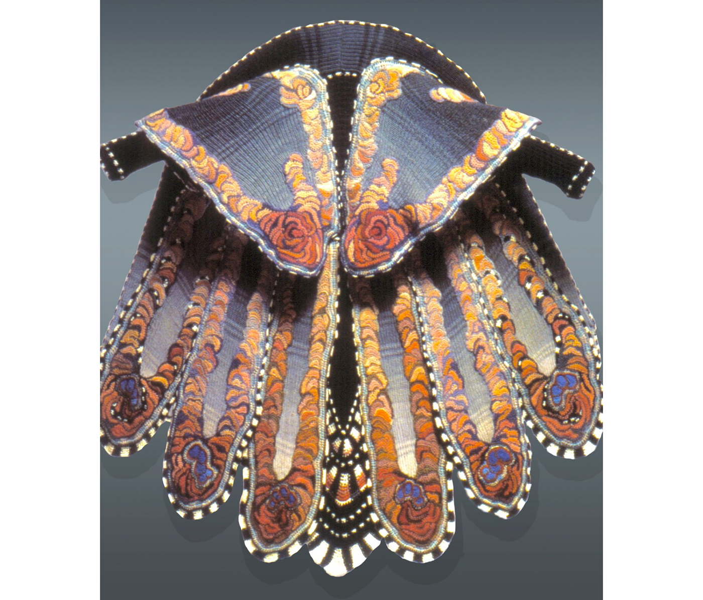 """Sharron Hedges, """"Morpho"""" (1984), crocheted and knitted rib, wool yarn, and wool jersey lining (courtesy the artist, collection Julie Schafler Dale)"""
