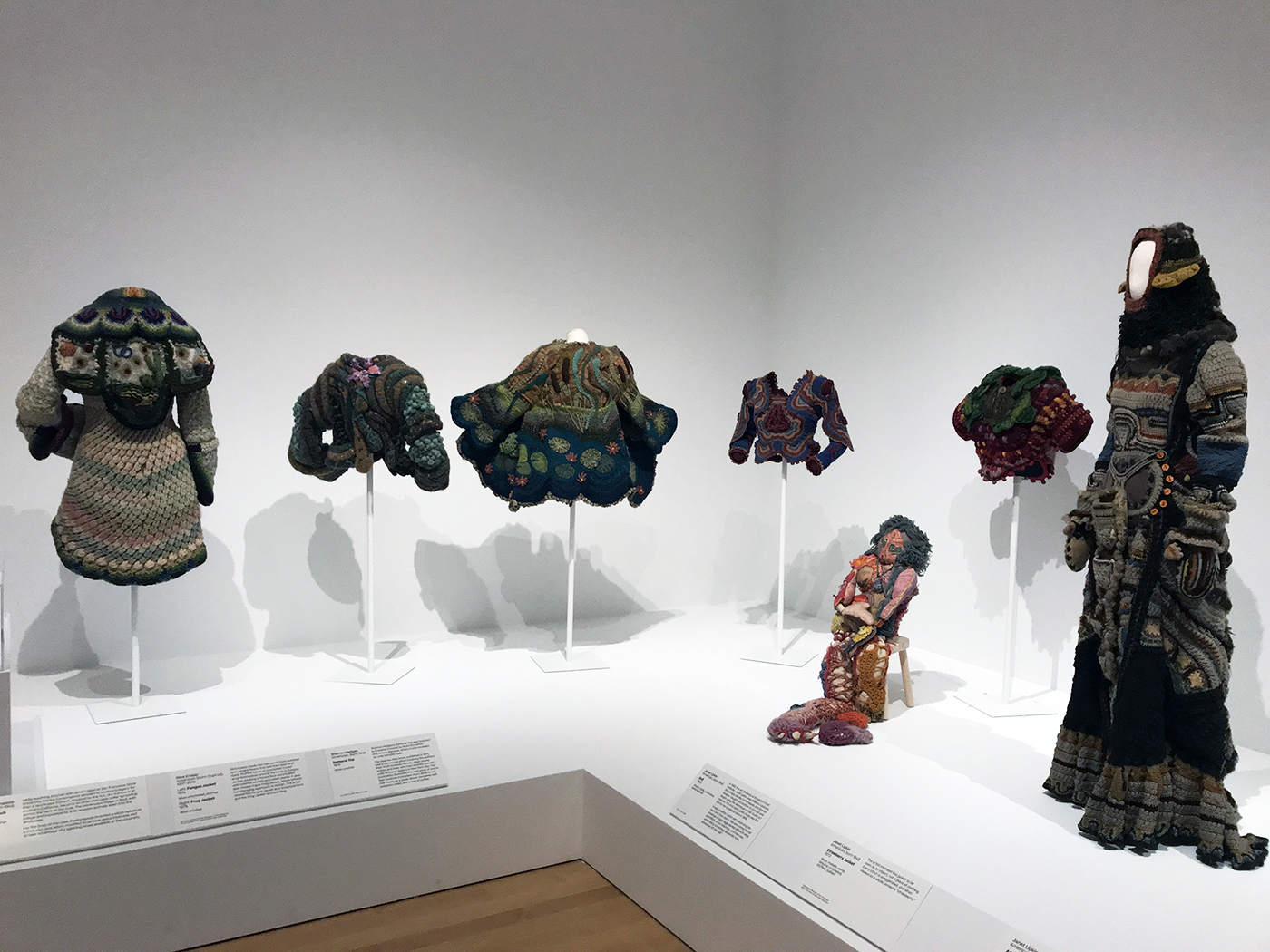 Installation view of Off the Wall: American Art to Wear at the Philadelphia Museum of Art, with work by Marika Contompasis, Dina Knapp, Sharron Hedges, and Janet Lipkin (courtesy Janet Lipkin)