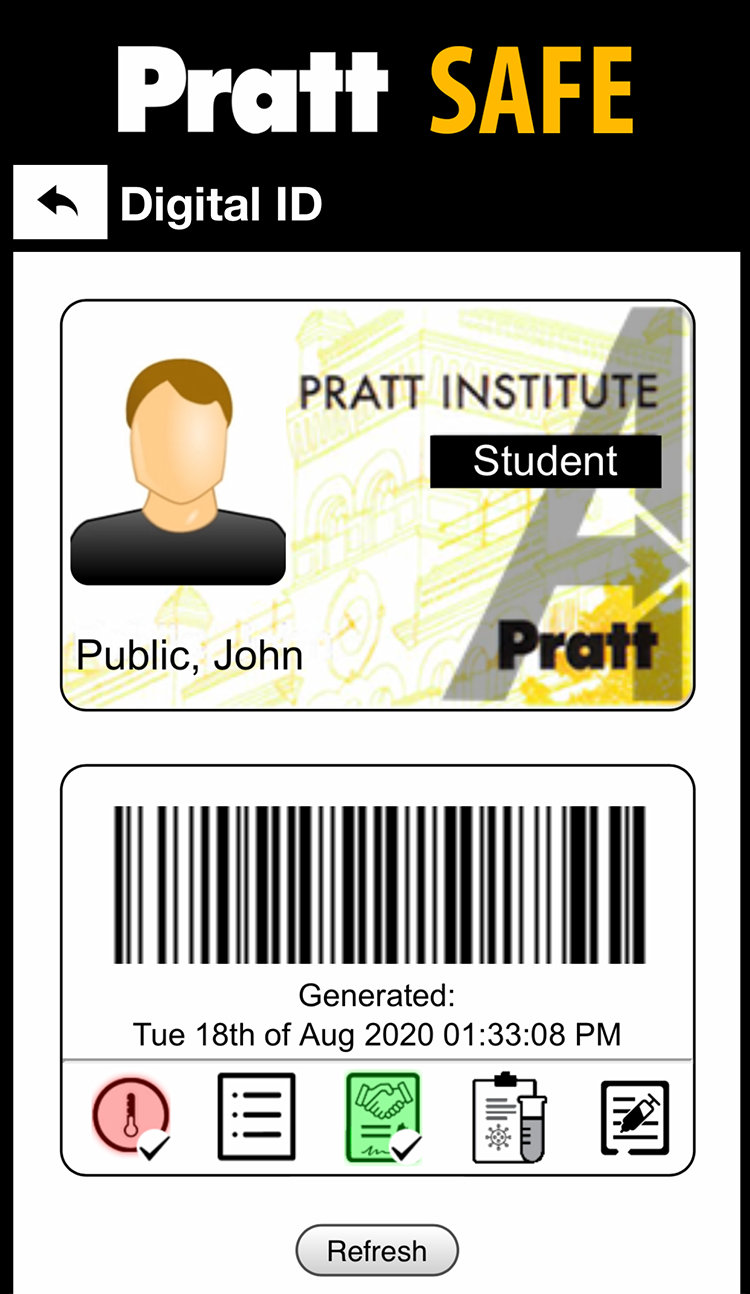 A screenshot of the PrattSafe app showing what your digital ID looks like.