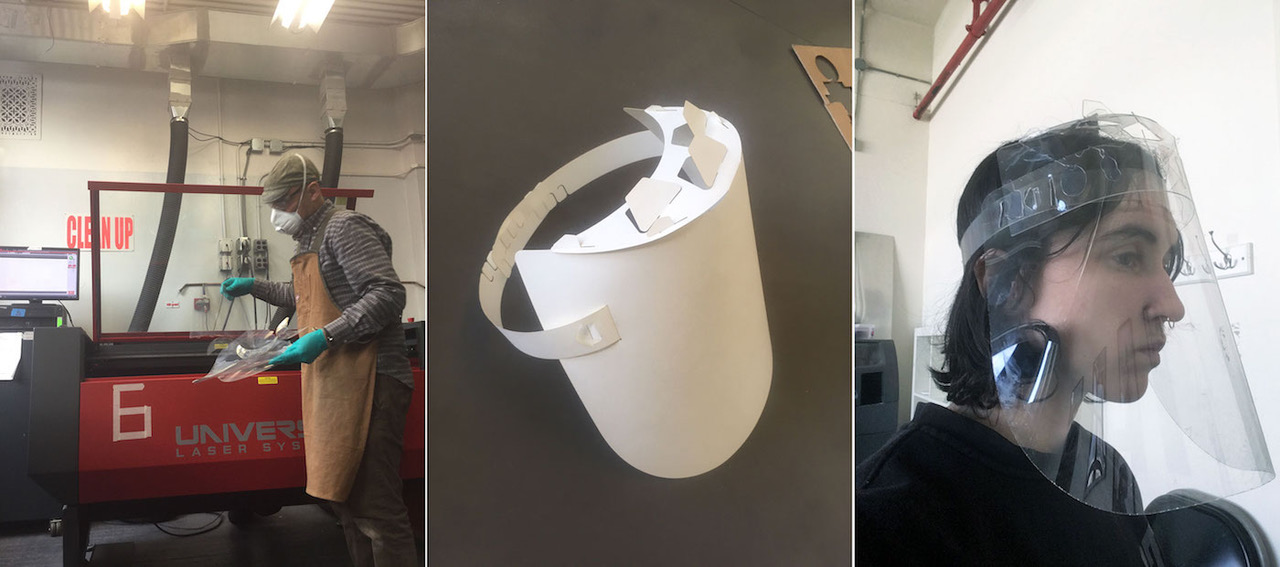Working on mono-material face shields in the School of Architecture (courtesy Mark Parsons
