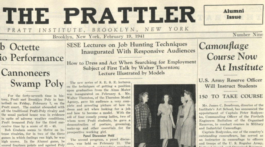 Story announcing the camouflage program in the February 19, 1941 issue of The Prattler (courtesy Pratt Institute Archives)