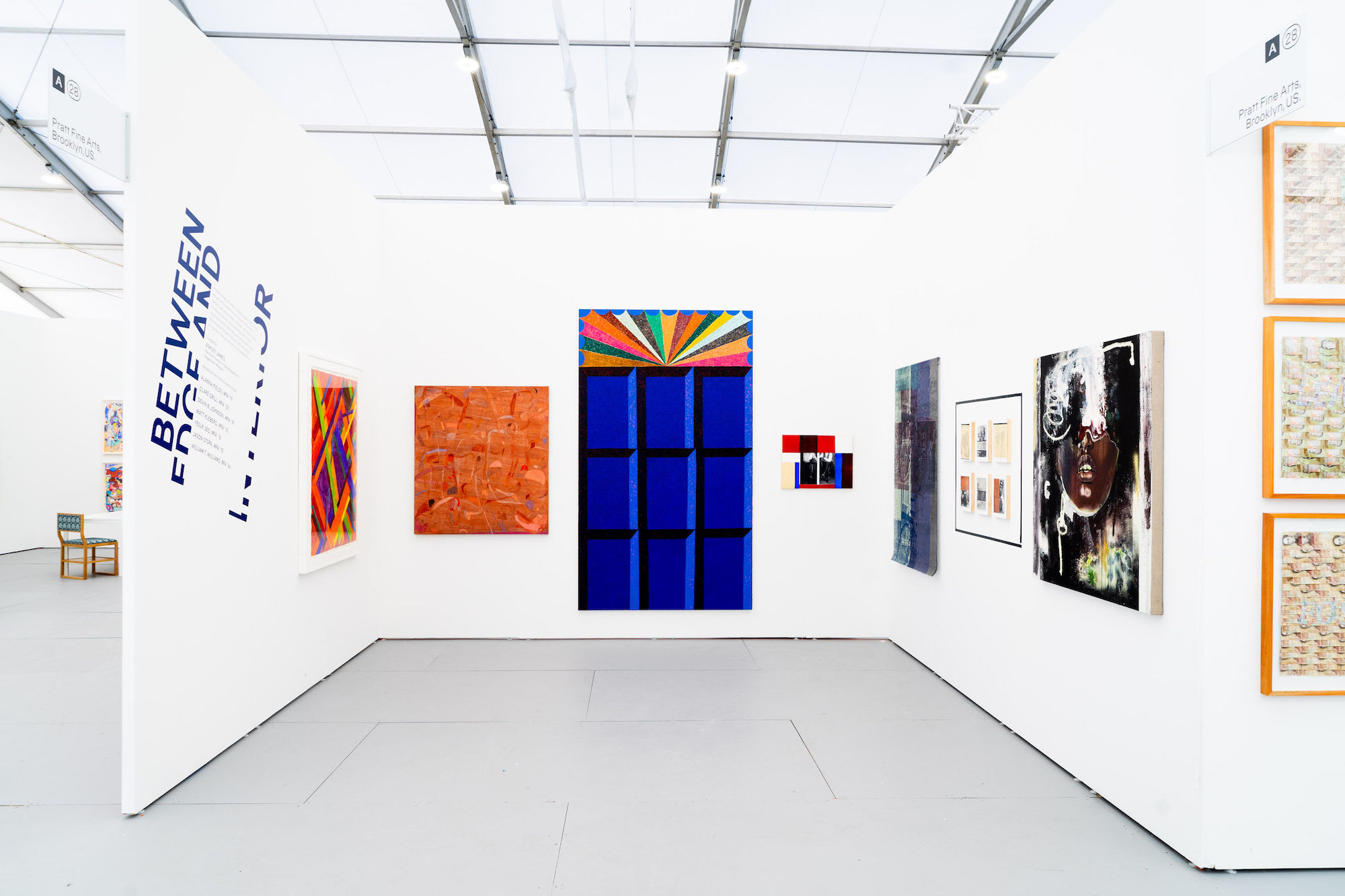 Installation view of Between edge and interior at UNTITLED, ART Miami Beach