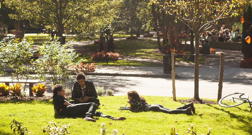Students on Pratt Institute campus