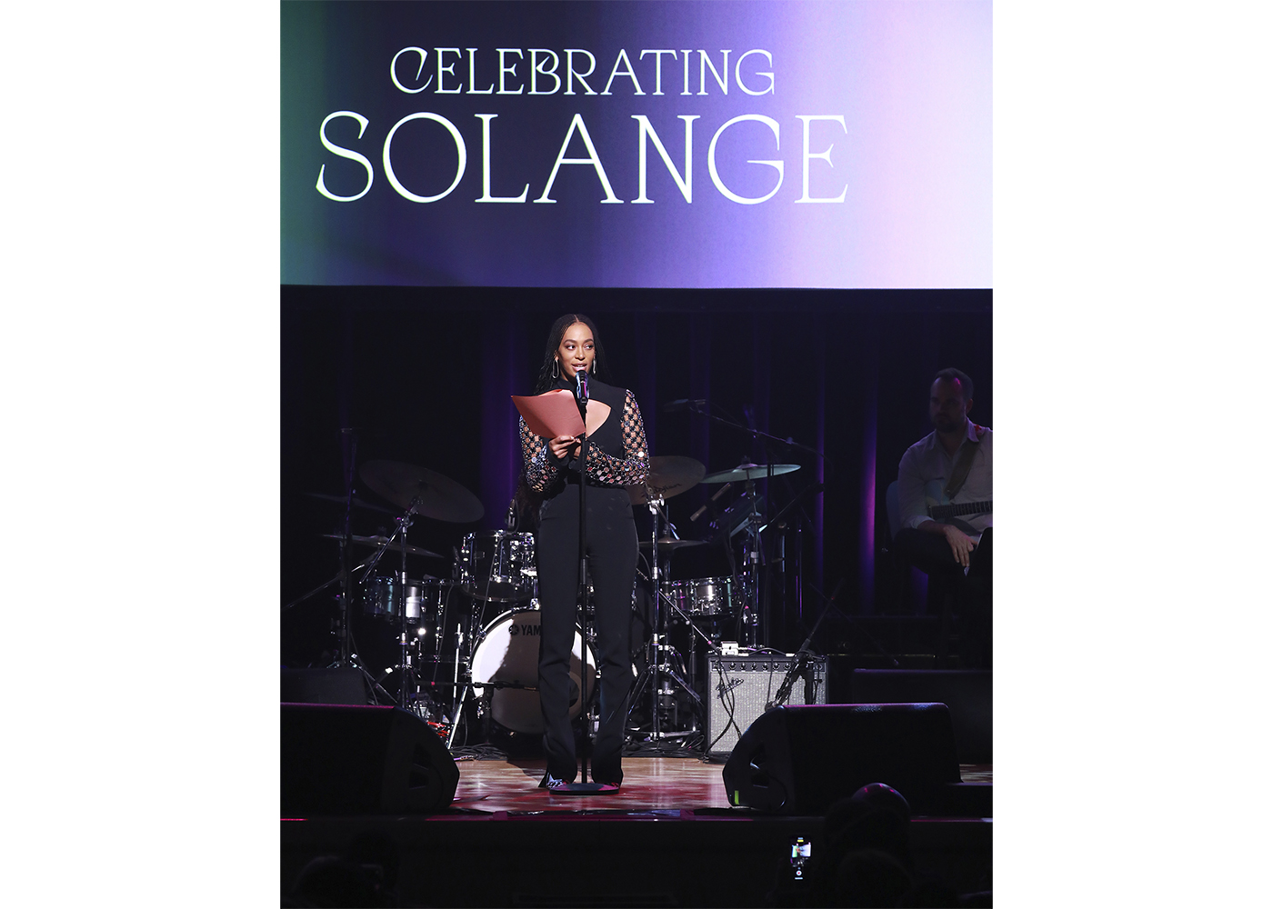 Solange Knowles speaks onstage at the Lena Horne Prize Event Honoring Solange Knowles Presented by Salesforce at the Town Hall on February 28, 2020, in New York City (photo by Jason Mendez/Getty Images for the Town Hall)