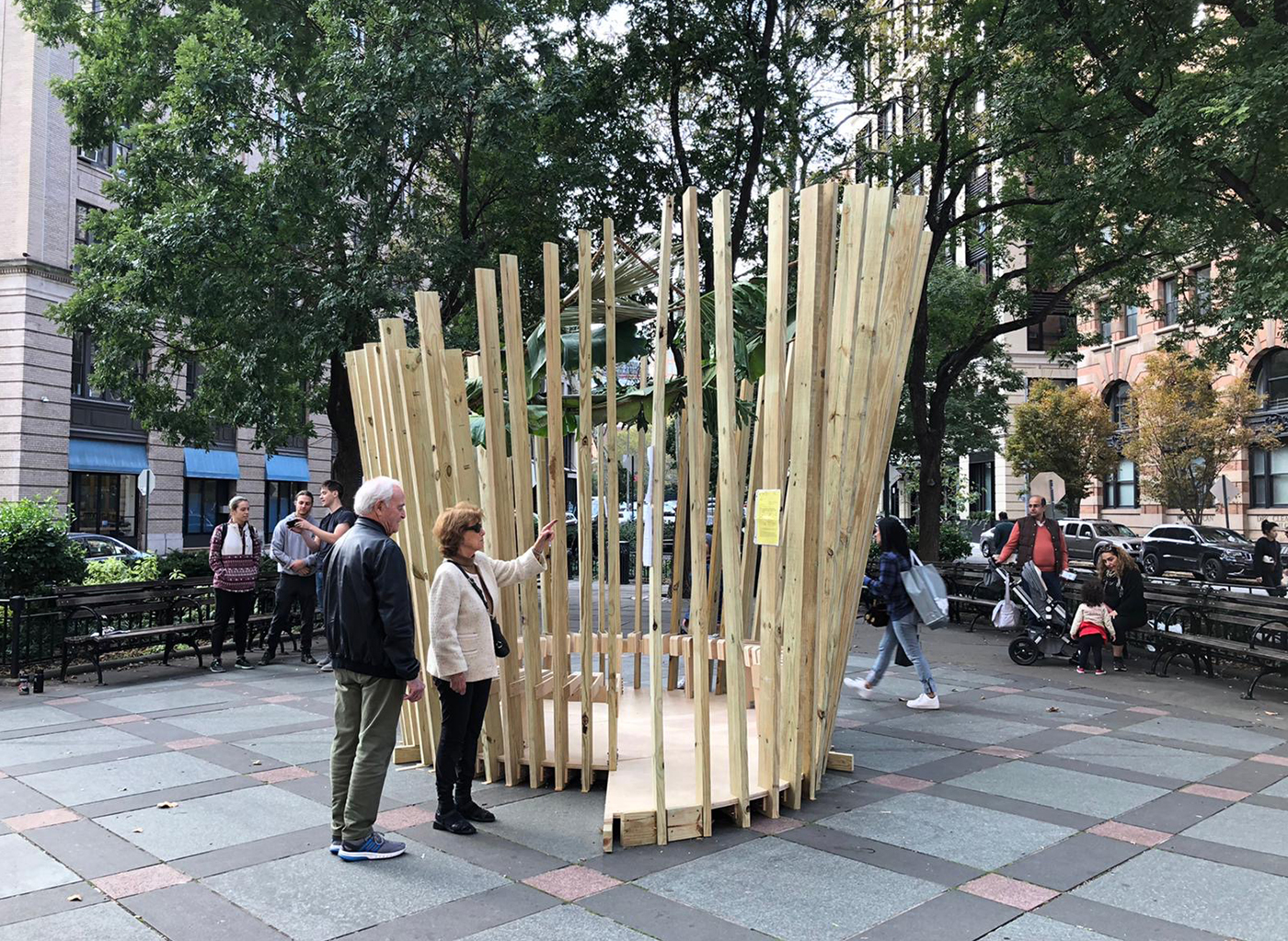 The sukkah designed by GAUD students in Tribeca Park