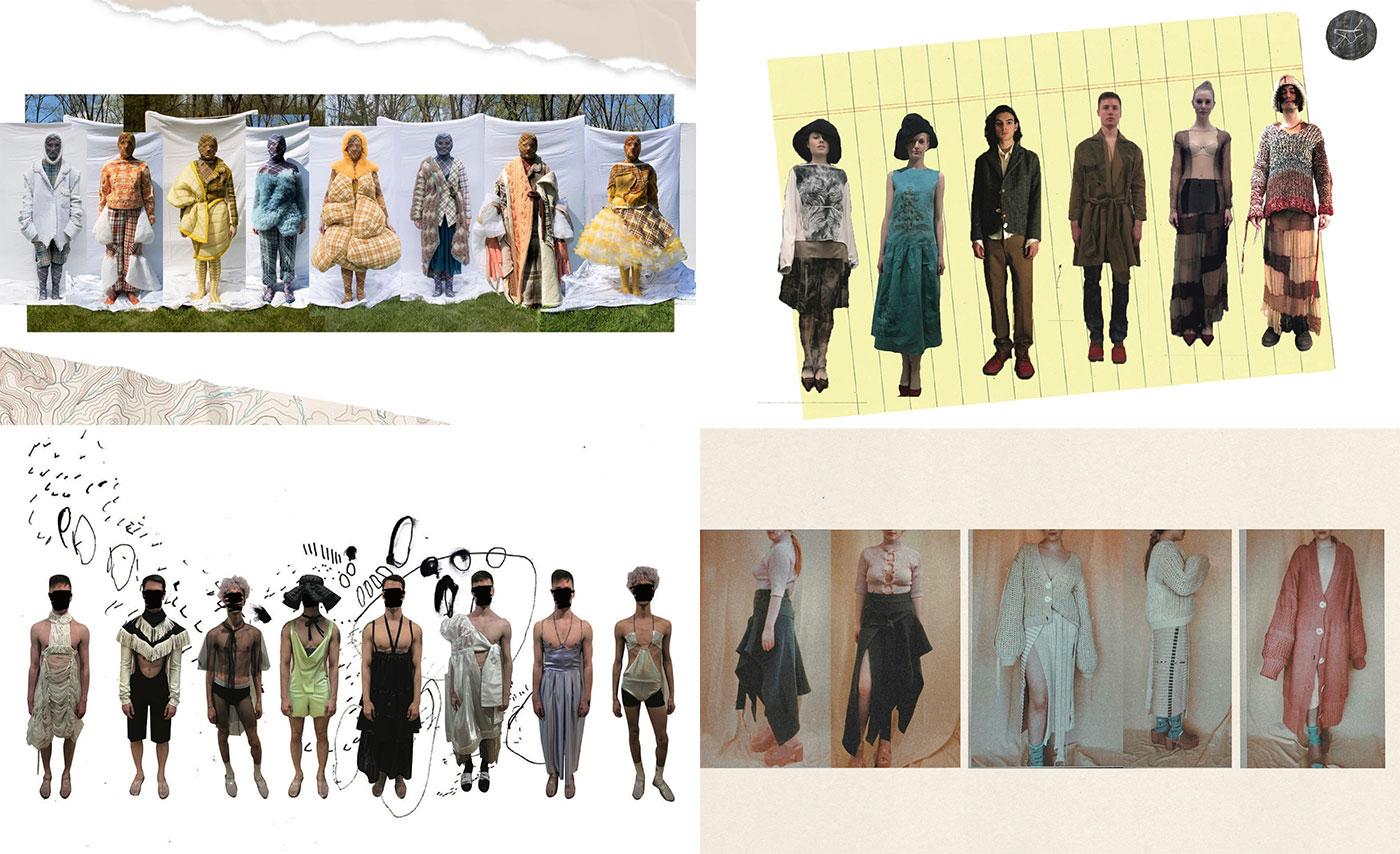 Collections by fashion graduates (clockwise from top left): Juliana Gogol, Stefan Maier, Olivia Rose Harris, and Ry Arne