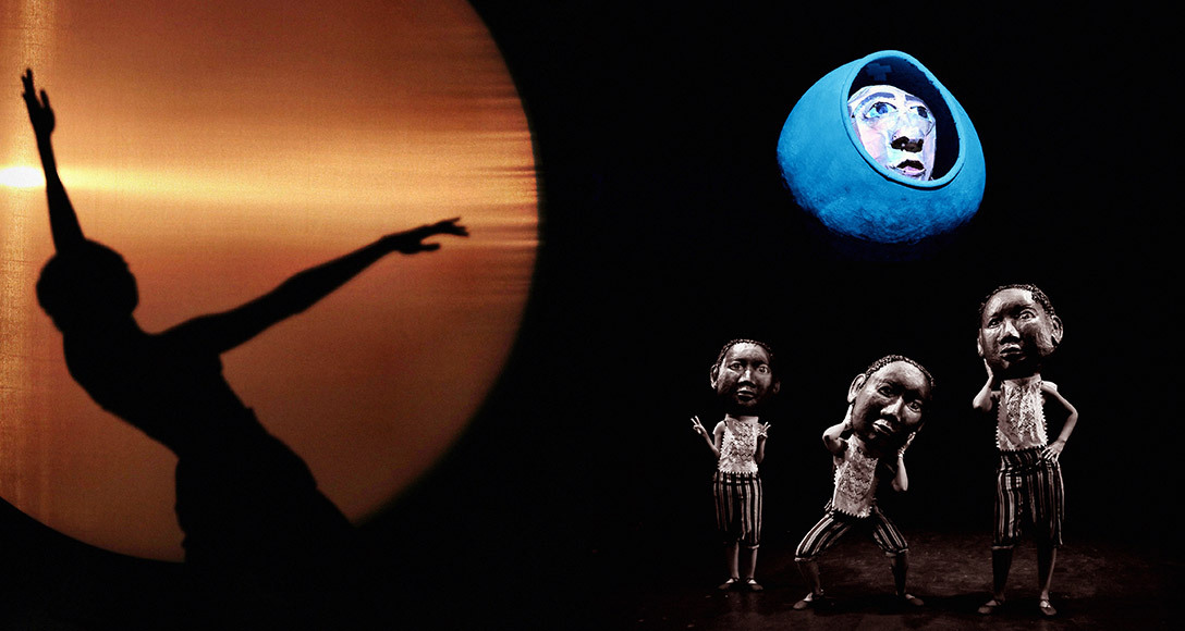 Left to right: Scene depicting solar eclipse predicted by Benjamin Banneker, with shadow dancer; Copernicus puppet (top) and Banneker chorus with heads by Theodora Skipitares.
