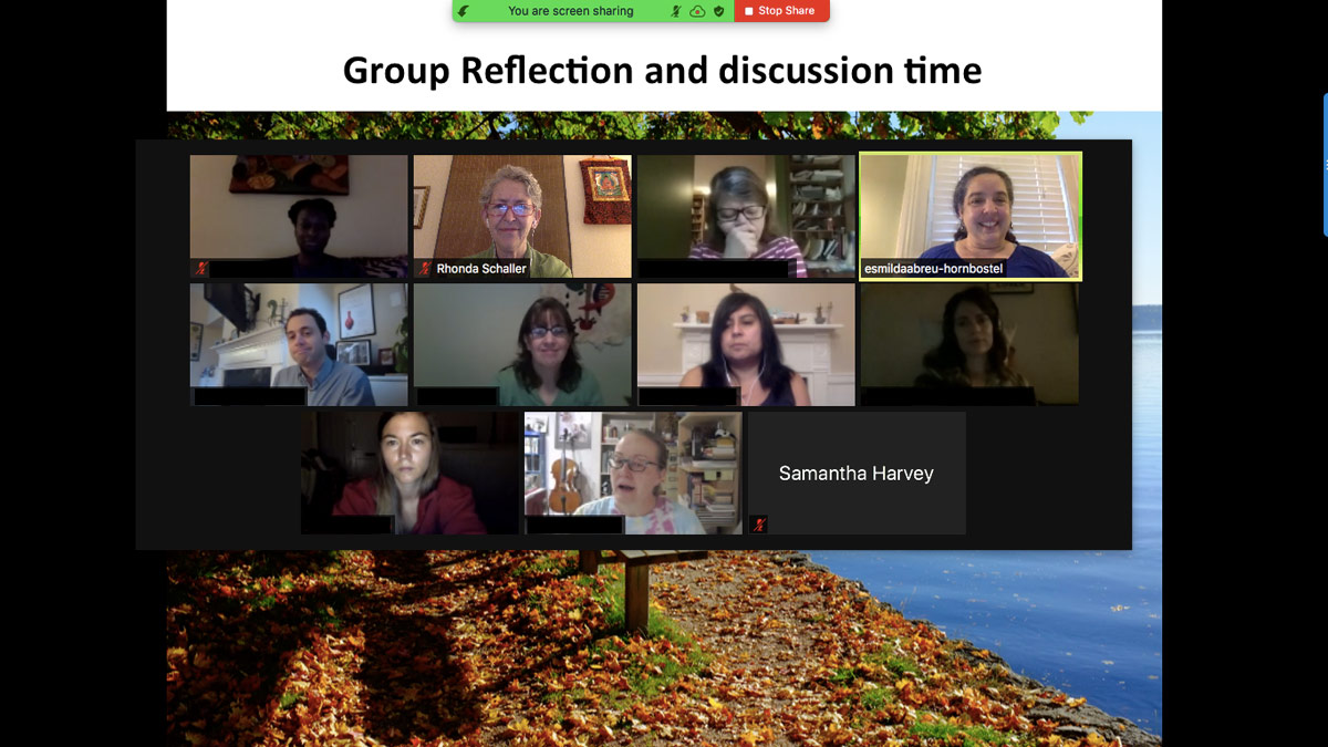 Group of 12 participants on a zoom call